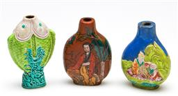 Sale 9253 - Lot 386 - Character decorated Chinese snuff bottles (H:6cm) and a fish example - chip to rim