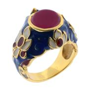 Sale 7982B - Lot 109 - Silver gilt Jaipur style ring with enamel and ruby
