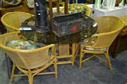 Sale 8013 - Lot 1065 - Cane Glass Top Table with Chairs