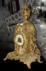 Sale 8098A - Lot 19 - A C19th Brass Pierced Mantel Clock by A D Mougin France, with key and pendulum