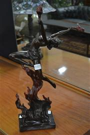 Sale 8156 - Lot 1007 - Cast Metal Figure of a Fire Dancing Lady - Signed Lower Right