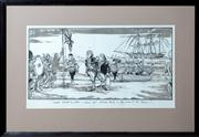 Sale 8402H - Lot 85 - Paul Rigby Great navigating mate, youve just claimed Bondi in the name of the Queen. Political Cartoon. Image size 16x33cm.