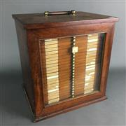 Sale 8638 - Lot 601 - Antique Timber Specimen Cabinet of 28 Drawers containing 1000 microscope slides of late C19th & early C20th natural history & minera...