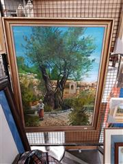Sale 8682 - Lot 2076 - Artist Unknown - Watering Garden, oil on board, 92 x 70cm (frame size), initialled MJ lower right