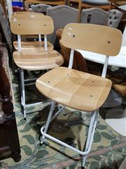 Sale 8760 - Lot 1084 - Set of Three White Metal Base Breakfast Bar Stools