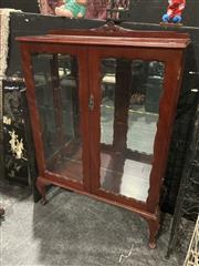 Sale 9051 - Lot 1012 - Queen Anne Style Display Case with Glass Panel Doors