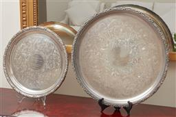 Sale 9099 - Lot 169 - A circular electroplated salver; maker: Fairfax and Roberts together with another, Diameter 46.5cm