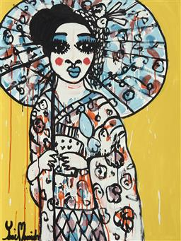 Sale 9157A - Lot 5014 - YOSI MESSIAH (1964 - ) Golden Girl, 2020 mixed media on board (unframed) 100 x 75 cm signed lower left, dated and titled verso