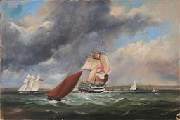 Sale 9125 - Lot 649 - Artist Unknown Maritime Scene oil on canvas (relined) (unframed) 51 x 76 cm unsigned