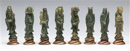 Sale 9153 - Lot 50 - A collection of eight soapstone figures (H:12cm) - one damaged