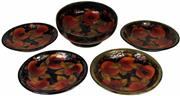 Sale 8057 - Lot 78 - Moorcroft Pomegranate Five Piece Dessert Set