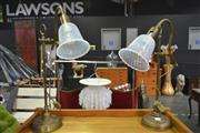 Sale 8175 - Lot 1035 - Pair of Brass Table Lamps with Metal Shades