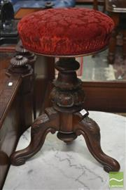 Sale 8282 - Lot 1044 - Victorian Walnut Piano Stool, with turned carved pedestal