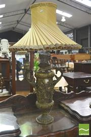 Sale 8338 - Lot 1432 - Brass Double Handled Urn Form Table Lamp with Pleated Shade