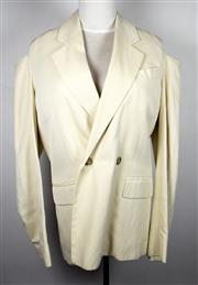 Sale 8460F - Lot 13 - A Roland Mouret cream bamboo blend double breasted jacket with cut outs to each shoulder, size UK 10, new with tag