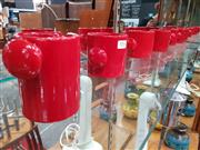 Sale 8741 - Lot 1066 - Set of 5 Italian Picchio Red Red Ceramic Espresso Cups and Creamer