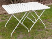 Sale 9060H - Lot 207 - A pair of slatted folding garden tables height  74 x 80x 62cm