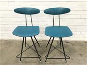 Sale 9092 - Lot 1075 - Pair of Meadmore metal based barstools with aqua upholstery (h:93 x w:31cm)