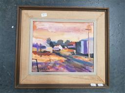 Sale 9127 - Lot 2073 - Artist Unknown Railway Station, South Queensland, oil on canvas board, frame: 39 x 43 cm, signed lower left -