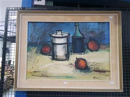 Sale 9159 - Lot 2001 - Artist Unknown Still Life with Glassware oil on canvas, frame: 64 x 85 cm, signed lower right -