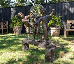 Sale 9248H - Lot 271 - A large bronze statue of 3 children on a log length 140 x height 122cm