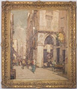 Sale 9150J - Lot 79 - EUROPEAN SCHOOL (G PIPRIA?) Eastern European Street Scene oil on canvas 60 x 50 cm signed lower right