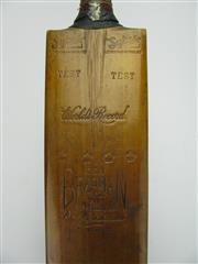 Sale 8200A - Lot 3027 - Don Bradmans First Test Century 1930 Match-Bat - a Sykes cricket bat, used by Don Bradman to score his first Test Century in Englan...