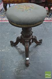 Sale 8282 - Lot 1056 - Victorian Probably Mahogany Piano Stool, with tapestry upholstery on turned carved pedestal