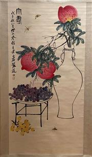 Sale 8951S - Lot 20 - Chinese Scroll of Peaches, Ink and Colour on Paper