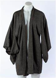 Sale 9003F - Lot 66 - Vintage Silk Haori with Stylised Landskape in silver and grey tones with satin cherry blossom lining