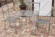 Sale 9060H - Lot 208 - A square top wirework table 69 x 70 sq, tw three iron chairs. W 41 height of back 89cm