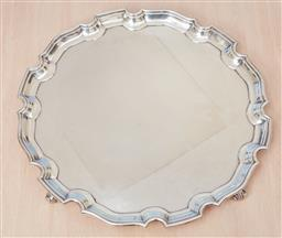 Sale 9099 - Lot 59 - A hallmarked sterling silver circular salver; Hardy Bros. wt 1.27kg, diameter 36.5cm