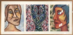Sale 9135 - Lot 2083 - Artist Unknown Colourful Portraits mixed media on paper, 77 x 155cm, unsigned -