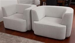 Sale 9150H - Lot 16 - A pair of eclectic light grey tub chairs, Height of back 68cm x Width 107cm x Depth 82cm. RRP$2000
