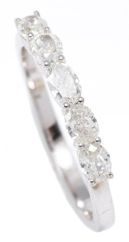Sale 9156J - Lot 387 - AN 18CT WHITE GOLD QUARTER HOOP DIAMOND RING; set with 5 oval brilliant cut diamonds totalling approx. 0.80ct, size N, wt. 2.15g.