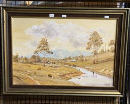 Sale 9176 - Lot 2054 - William (Bill) OShea Dairy Farm, Bellingen, 1979, oil on board, frame: 51 x 71 cm, signed lower right, dated and titled verso -