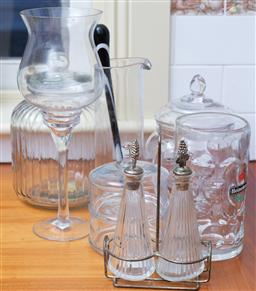 Sale 9190H - Lot 415 - graduated and assorted glass lidded jars together with sundry other glasswares