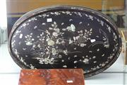Sale 7989 - Lot 23 - 19th Century Oriental Mother of Pearl Inlaid Tray (some pieces missing)