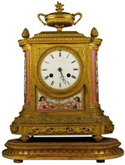 Sale 8065 - Lot 55 - James & Walter Marshall Late Napoleonic Gilt Bronze & Porcelain Clock