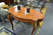Sale 8159 - Lot 1019 - Inlaid Style Table With Metal Mounts