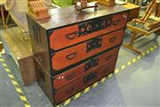 Sale 8175 - Lot 1014 - Japanese 4 Drawer Pine & Elm Tansu Chest in 2 Sections