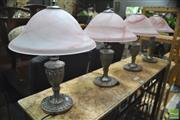 Sale 8299 - Lot 1100 - Set of Four Glass Shade Table Lamps