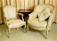 Sale 8392H - Lot 82 - A French fauteuil with brocade upholstery in sea foam, together with a matching elbow chair