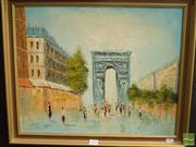 Sale 8522 - Lot 2054 - Artist Unknown - Paris Street Scene 39 x 49cm