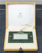 Sale 8562A - Lot 48 - A Russian silver and jade photo frame in the manner of Faberge, W 11cm, in fitted box