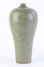 Sale 8863H - Lot 27 - A Meiping celadon vase with overall foliate carving, height 30cm
