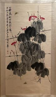 Sale 8951S - Lot 21 - Chinese Morning Glory Scroll, Ink and Colour on Paper