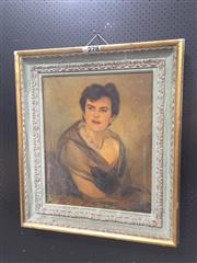 Sale 9050 - Lot 2085 - Artist Unknown, Portrait of a Lady, oil on canvas (AF) , frame: 83 x 73 cm, signed lower right
