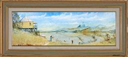 Sale 9123J - Lot 244 - Maynard Waters (1936 - ) Untitled (By the Lake) oil on board 29 x 90 cm (frame: 49 x 110 x 4 cm) signed lower right