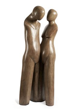Sale 9141 - Lot 590 - Artist Unknown Two Lovers carved timber 192.0 x 80.0 x 47.0 cm .